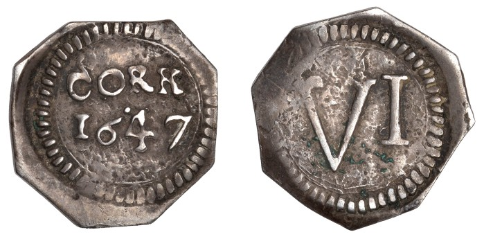 Charles I (1625-1649), Southern Cities of Refuge, Cork, Sixpence, 1647