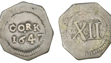 Charles I (1625-1649), Cork, Shilling, 1647, 4.35g/1h (S 6561; DF 328). Light scratch on reverse, otherwise good fine, extremely rare