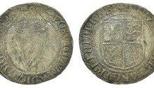 Elizabeth I (1558-1603), Third issue, Shilling, mm. trefoil, 5.37g/6h (S 6507; DF 252). About very fine but surfaces heavily corroded