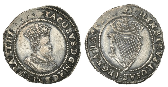 James I (1603-1625), Second coinage, Shilling, mm. escallop, fourth bust, 4.63g/2h (S 6516; DF 261). Possibly smoothed in obverse fields, otherwise better than very fine
