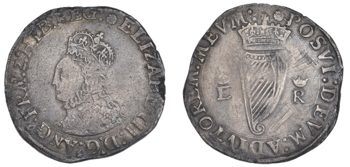 Elizabeth I, First issue, Shilling, mm. rose, reads reg, 8.45g (S 6503, DF 241). Old scratches on reverse, otherwise about very fine, rare