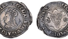 Elizabeth I, Second issue, Groat, 1561, mm. harp, reads reg and mev, 1.57g (S 6506, DF 250). Very fine with good portrait, rare