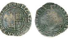 Elizabeth I, Third issue, Copper Halfpenny, 1601, mm. trefoil, 0.89g (S 6511, DF 257)