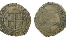 Elizabeth I, Third issue, Copper Penny, 1602, mm. martlet, 1.68g (S 6510a, DF 256)