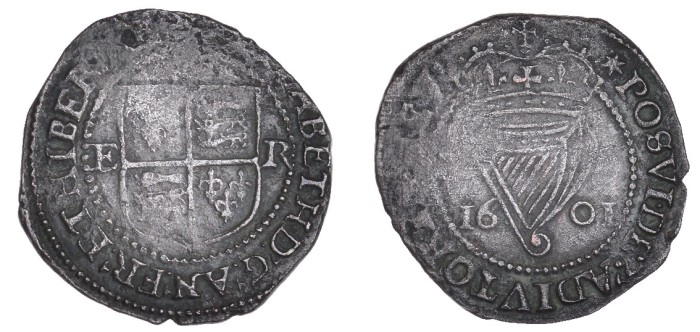 Elizabeth I, Third issue, Penny, dated 1601, mm. star, 2.05g (S 6510, DF 255). About very fine