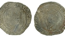 Elizabeth I, Third issue, Sixpence, mm. star, trefoil, 3.14g (S 6508, DF 253). Weak in places and scratched on shield, nearly very fine, toned