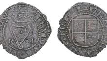 Ireland - Elizabeth I, Copper Penny dated 1601 mm. trefoil, 1.71g (S 6510, DF 255). Fine