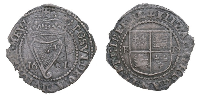 Ireland - Elizabeth I, Copper Penny dated 1601 mm. trefoil, 1.71g (S 6510, DF 255). Fine