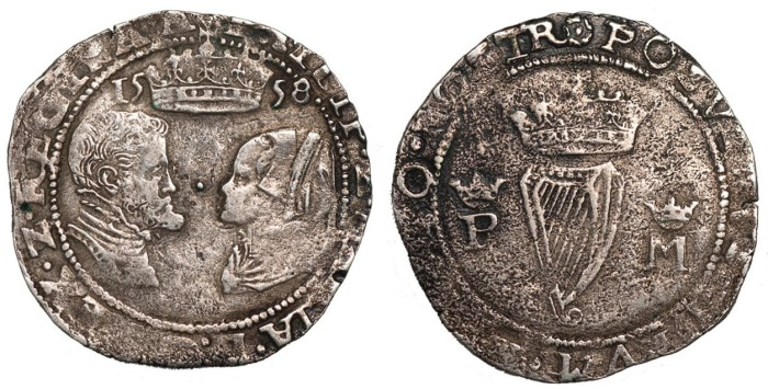 Ireland, Philip and Mary, groat, 1558, mm. rose, busts face to face, date divided by crown above, rev. crowned harp divides crowned P and M (S.6501D)