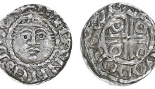 Second coinage, Halfpenny, Dublin, type Ib, Turgod, [TVR]GOD ON DWE, 0.78g/6h (S 6205; DF 39). Parts of legend flat, otherwise very fine and toned, rare