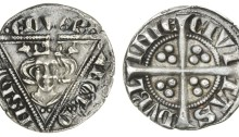Edward I, Penny, second coinage, type 1a, Dublin, 1.37g, crowned facing bust within triangle, rev. long cross with trefoils of three pellets in each angle (S.6246A)