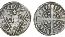 Edward I, second coinage, Dublin Penny, type 1c, 1.40g, crowned facing bust within triangle, rev. long cross with trefoils of three pellets in each angle (S.6248)