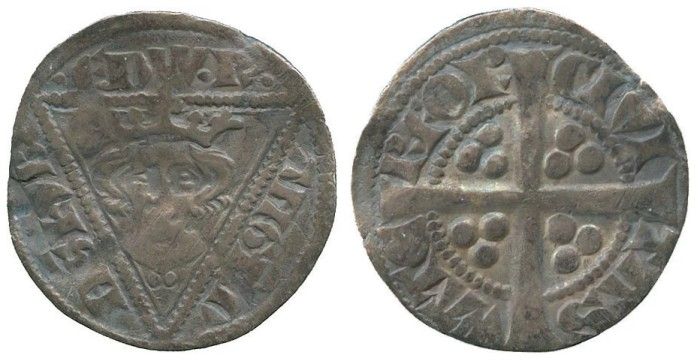 Edward I, Silver Penny, second coinage, type Ib, Waterford mint, crowned bust with trefoil of pellets below within triangle, rev long cross pattée, 1.26g (DF64, S6249)
