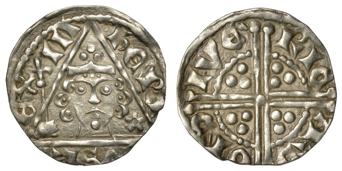 Henry III (1216-1272) Penny class 2c, Dublin, RICARD ON DIVE, three curls either side of head, pellet at base of sceptre head, 1.39g (S 6242, DF 58)