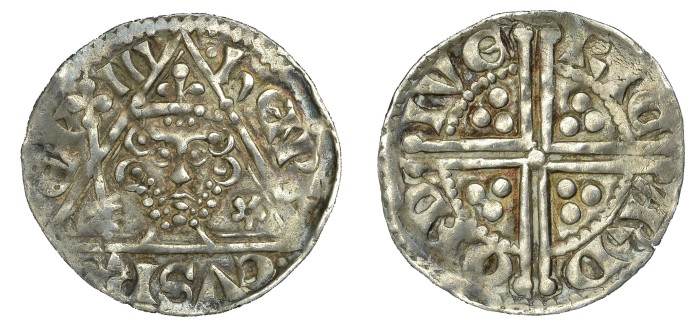 Henry III (1216-1272), Penny, type IIb, Dublin, Ricard, band of crown jewelled with pellets, 1.39g (S 6241, DF –). Very fine or better, scarce
