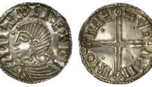Hiberno-Norse Phase II, Class B, penny Sihtric, ZHITR · C RE + DY, oval eye, pellet in front, cross pommée behind, wishbone ornament on neck, Faeremin
