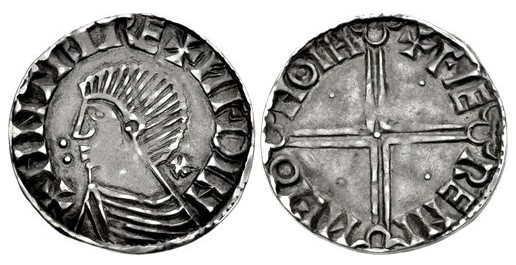 Hiberno-Norse Phase II silver penny, Dublin mint +Faeremin moneyer.  cross pattee behind neck + two pellets in front