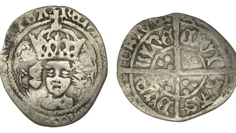 Henry VII, Late portrait Halfgroat, type II, Dublin, facing bust with arched crown within fleured tressure, 0.86g (S 6466 cf DF 196). Nearly fine, extremely rare