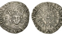 Henry VII, Late Portrait issue Groat, (1485-1509) Dublin, type IIc, open crown, saltires on tressure, SIVI TAS DBV LNE, 1.72g (S 6460, DF 198) aVF