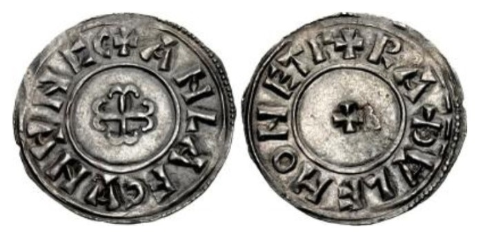 Hiberno-Norse Northumbria). Anlaf Sithtricsson (Cuaran). First reign, 941-944/5. AR Penny (20.5mm, 1.14 g, 1h). Cross moline type. York mint; Rathulf, moneyer. + ANLAF CVNVNCC (Vs as inverted As), cross moline / + RAÐVLF HONET Γ (V as inverted A), small cross pattée. CTCE Group VI, e–k; SCBI 34 (BM), 1256; North 542; SCBC 1022 (this coin illustrated). EF, small metal flaw in center of reverse. Lightly toned. Very rare.
