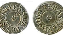 Hiberno-Norse Northumbria, Anlaf Sihtricsson Cuaran Penny. Circumscription Cross + trefoil of pellets
