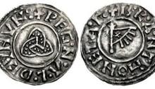 Hiberno-Norse Kingdom of Northumbria, Ragnald Guthfrithsson c. 943-944/5. Silver Penny (14mm, 1.05 g), Triquetra type, York mint / moneyer: Branting. Obv: +REG·N·Λ·L·D CVNVN + triquetra. Rev: +B·R·A·NT HONET·A