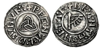 Hiberno-Norse Kingdom of Northumbria, Ragnald Guthfrithsson c. 943-944/5. Silver Penny (14mm, 1.05 g), Triquetra type, York mint / moneyer: Branting. Obv: +REG·N·Λ·L·D CVNVN + triquetra. Rev: +B·R·A·NT HONET·A
