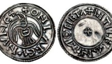 Hiberno-Norse Northumbria). Anlaf Guthfrithsson. 939-941. AR Penny (21.5mm, 1.39 g, 12h). Raven type. Southumbrian mint, probably Lincoln; Litelman, moneyer. + ONLΛF CVNVHC, raven with wings displayed, head left / + LITILHAN • MOHETΛ, small cross pattée. CTCE Group IV am - same obv. die, unlisted moneyer; SCBI –; BMC –; cf. North 537/1; SCBC 1019. EF, lightly toned. Small mark on reverse. Broad flan. Of the highest rarity and the only example known of this moneyer.
