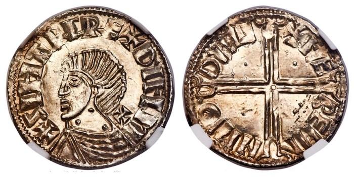 Hiberno-Norse Phase II Penny, Long Cross and pellets. Obv. +SIHTRC REX DYFLM, cross pattée behind neck and three pellets on neck variety. Rev. +FÆ REMI N M'Θ DYFL