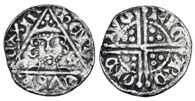 Henry III (1216-1272) Penny class 2d, Dublin, RICARD ON DIVE, Extra wide shoulders , 1.29g (S 6243)