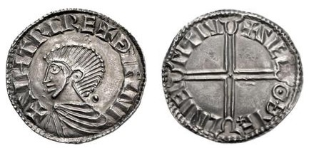 Hiberno-Norse Phase I, Class B Long Cross Penny, 20mm 1.31g, Obv. SIHTRC RE+ ÐYFNI + Rev. + SIEL Θ ÐYF+LNIEIMIIV (O'S 3, Hilderbrand 72, SCBC 6103)